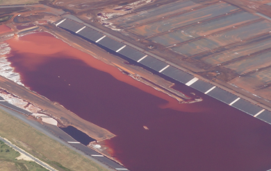 Aerial shot of toxic mud lake, Wagerup